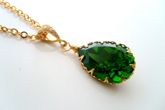 wedding necklace,emerald green 18x13 crystal teardrop with 16k gold plated cz detailed pinch bail bridal jewelry