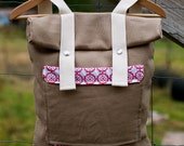Hemp Canvas Backpack - Roll Top Style - Floral Print