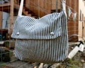 Canvas Shoulder Bag - All Organic Fabrics - Stripes  - Purse