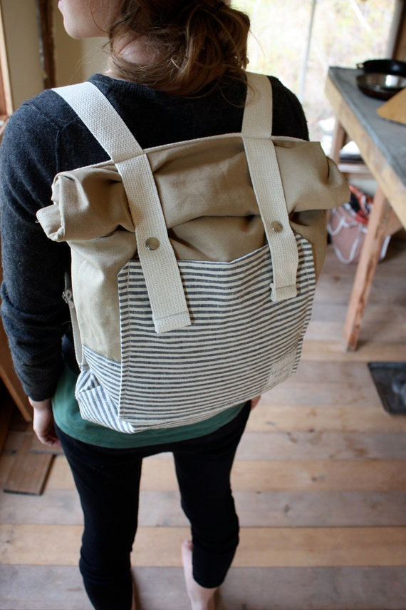 Organic Canvas Backpack - Roll Top - Stripes - Pockets - All Organic Rucksack