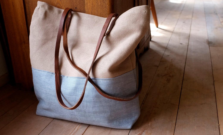 Canvas Tote Purse Leather Straps Organic Cotton