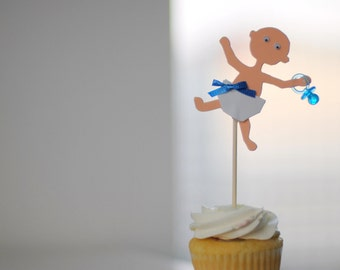Baby Shower Cupcake Toppers - 'It's a Boy' Shower Decorations - Set of 12