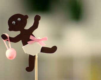 Cupcake Toppers - Baby Girl Shower Decorations - Set of 12