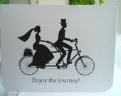 Black and White Bride and Groom Tandem Bike Silhouette Card - IndelibleImpressions