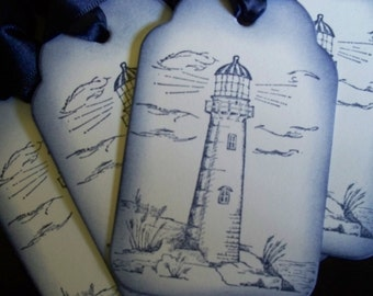 Lighthouse - set of 6 gift/wish tree tags