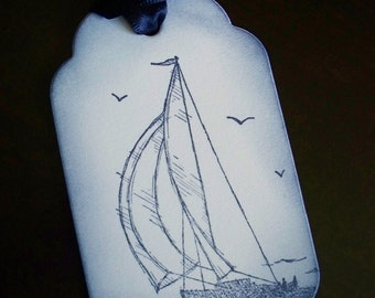 Sail Away - set of 6 masculine gift/wish tree tags