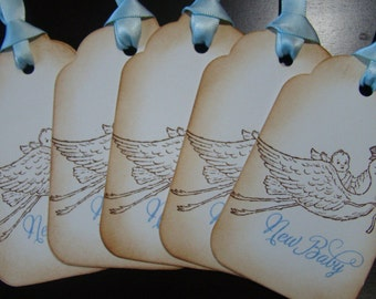Victorian Inspired New Baby (Blue) Gift/Wish Tree Tags