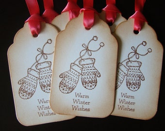 Warm Winter Wishes - Vintage Inspired Mitten Gift Tags