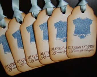Diapers & Pins A New Life Begins - set of 6 Baby Boy Gift/Wish Tree Tags