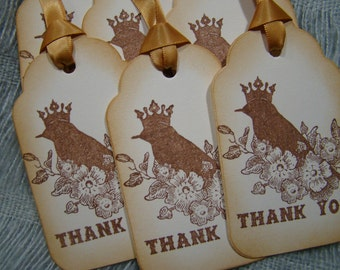 Vintage Inspired Bird with Crown Thank You Gift Tags