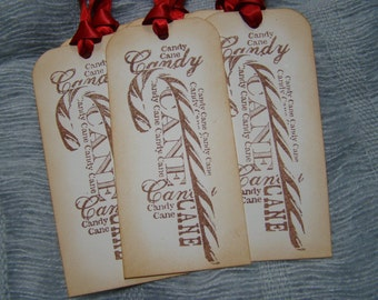 Vintage Inspired Candy Cane Christmas Gift Tags