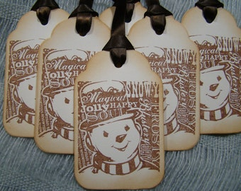 Vintage Inspired Magical Snowman Gift Tags