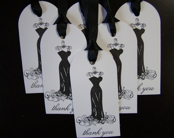 Elegant Black Dress Thank You tags