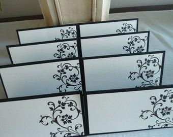 Elegant Scroll Design Black and Cream Wedding Place/Escort Cards