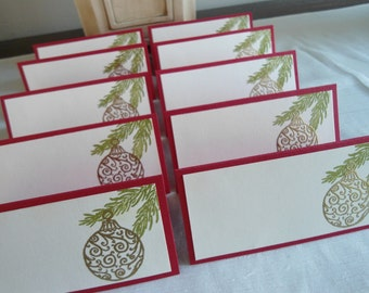 Gold Embossed Christmas Ornament Place/Escort Cards