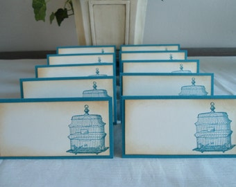 Vintage Inspired Indigo Blue Bird Cage Place/Escort Cards