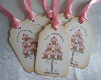 Happy Birthday Tiered Cupcake Gift Tags