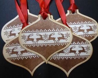 Vintage/Nordic Inspired Reindeer Christmas Ornament Tags