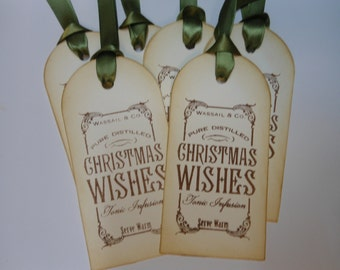 Vintage Inspired Christmas Wishes Gift Tags
