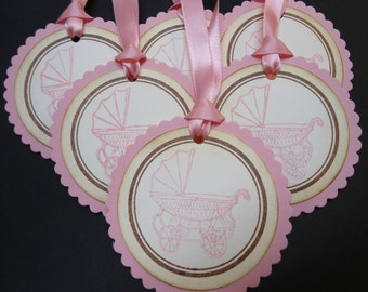 Vintage Inspired Baby (Girl) Carriage Gift/Wish Tree Tags