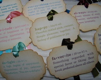Gift Tags or Wedding Wish Tags with word definitions - mix & match and customizable