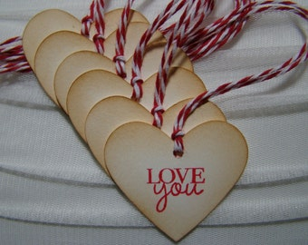 "Vintage Inspired Heart Shaped ""LOVE you"" gift tags"