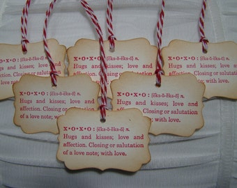 XOXO Definition tag - Vintage Inspired - set of 6