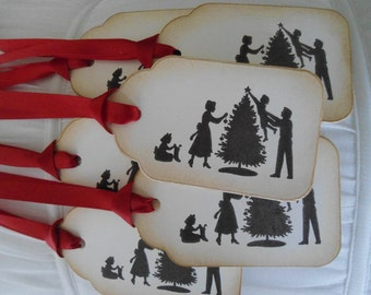 Family Silhouette Christmas Tags