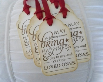 Vintage Inspired Worded HolidayTags - set of six (6)