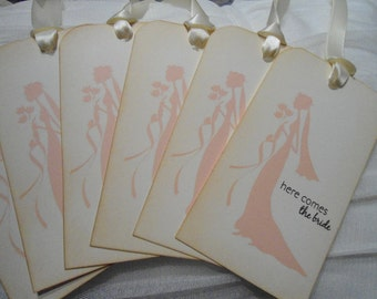 """Vintage Inspired """"Here Comes The Bride"""" Wish Tree Tags"""