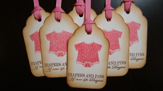 Diapers & Pins A New Life Begins - set of 6 Baby Girl Gift/Wish Tree Tags