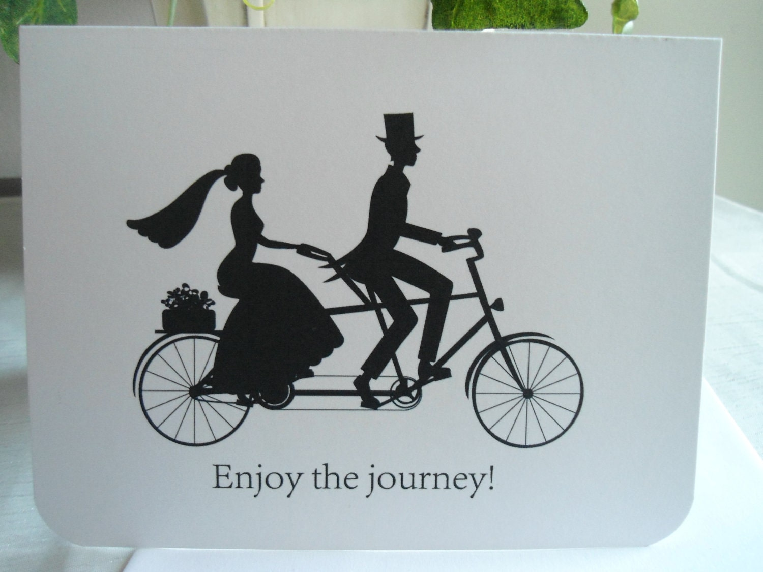 Black and White Bride and Groom Tandem Bike Silhouette Card