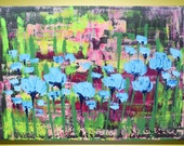 """Blue Flowers - Fine Art  Abstract Modern Original Painting - Certificate Of Authenticity 32"""" x 24"""" (80 x 60 cm)  By Luba Lubin"""
