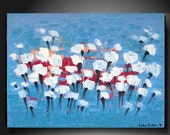 """White Tulips - With a Certificate of Authenticity - Abstract Modern Original Painting  32"""" x 24"""" (80 x 60 cm)  By Luba Lubin"""