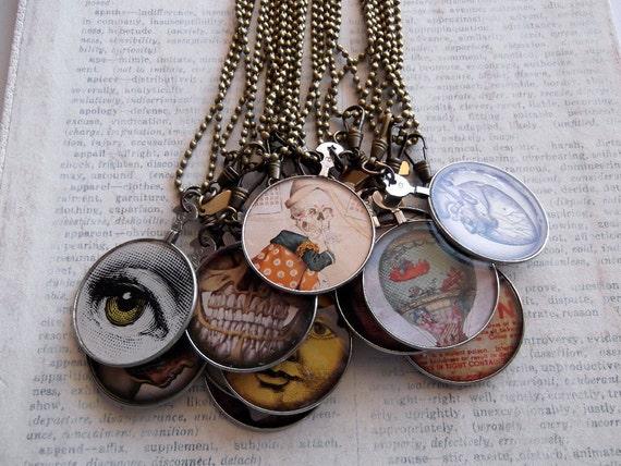 Antique Optometrist Lens Necklaces, Oddities Set of 13, Wholesale Jewelry, Wholesale Necklace