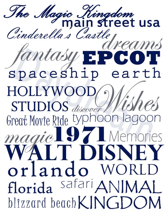 Custom Disney World Subway Art-  Digital File