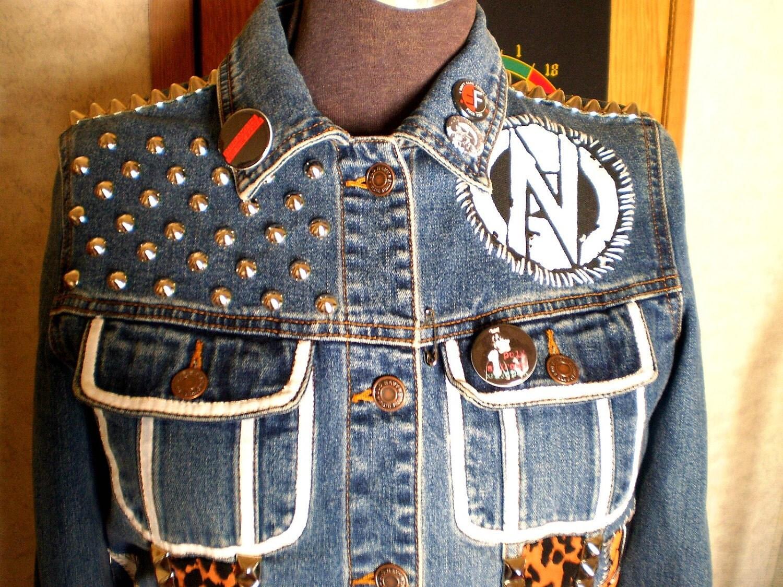 Customized Punk Studded Denim Jacket Unisex medium/small