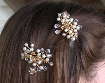 Bridal hair clips, Swarovski crystal and pearl hair clips, pins or combs - Pearl and crystal hair clips in gold or silver