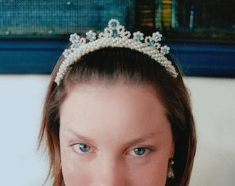 Something blue lacy tiara comb, Bridal pearl tiara comb, Wedding pearl and crystal tiara, Pearl tiara comb, Bridal tiara, Swarovski tiara,
