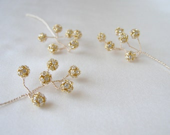 Gold and crystal hairpins, Bridal crystal hair pins, Wedding pins in gold or silver - includes 5 pieces