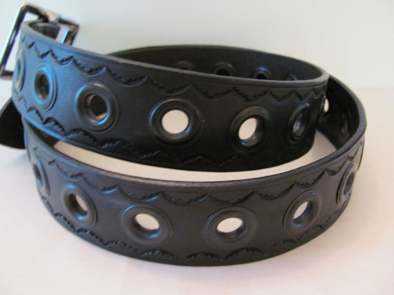 black leather belt,leather belt,belt with grommets, Belt with grommets and tooling
