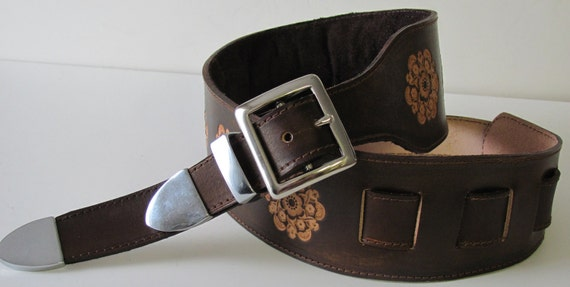 leather guitar strap, tooled.nickel fittings