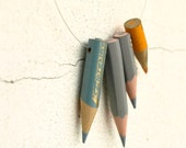 color pencil necklace - Orange n Grey - vintage memories