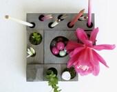 desk organizer - desktop Zen Garden - grey wood - original design by KarolinFelixDream
