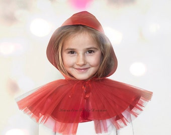 Little Red Riding Hood costume cape. for teen kids, children or petite women. Halloween costume.