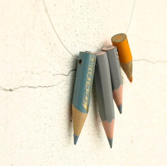 color pencil necklace - Orange n Grey - vintage memories