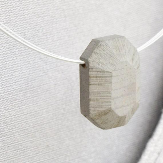 wooden pendant -grey emerald - geometrical faceted gem pendant