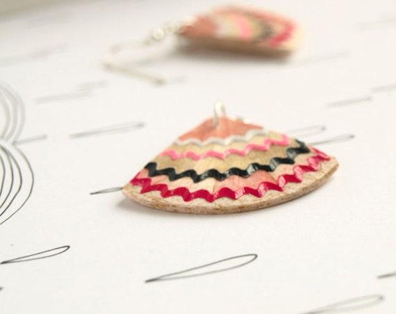 reserved for Valerie - geometrical pencil shavings earrings - fuchsia,pink,grey,white - handmade contemporary geek earrings