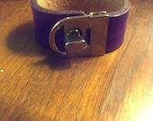 "Purple Leather ""Nicole"" Wrist Cuff With Turn Lock Hardware"