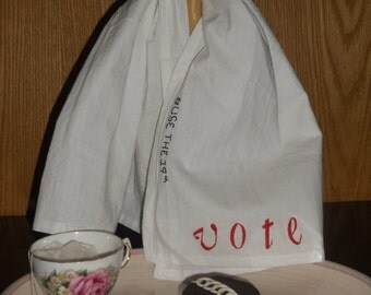 Use the 19th Vote stitched tea towel